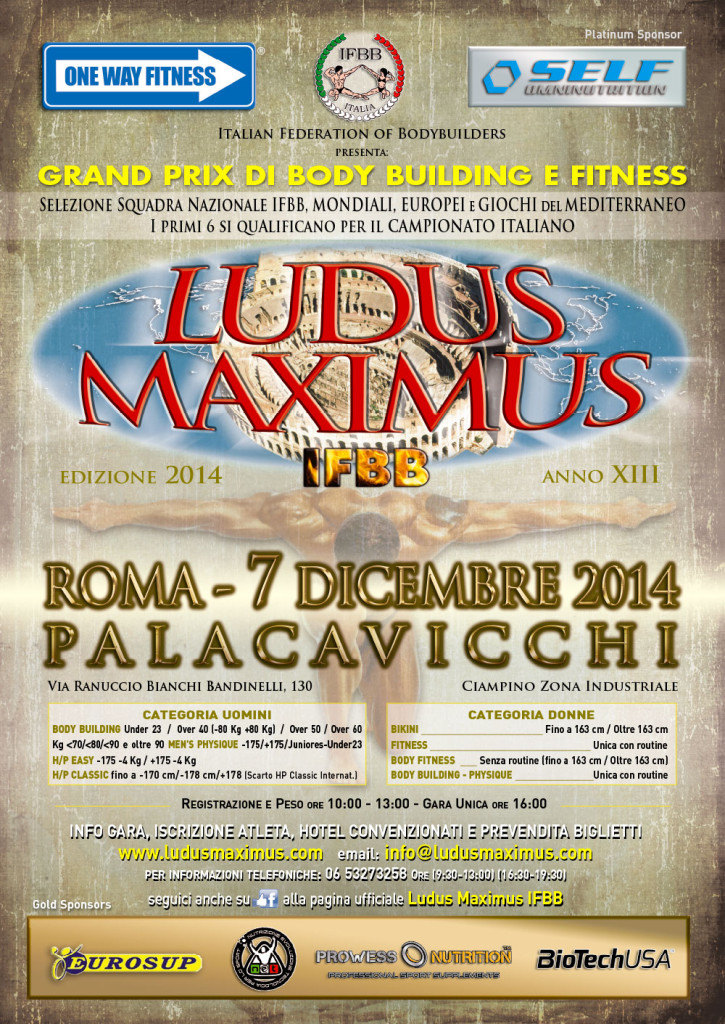 2014 ludus maximus ifbb: commento tecnico alla categoria bodybuilding Categoria OVER 40 + 80KG